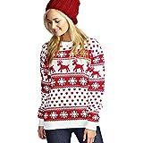 Suéter Mujer, Mujeres Manga Larga Navidad Estampado de Ciervo Cuello Sudadera Redondo Jersey Suéter
