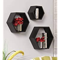 Techhark Wall Shelf, Home Décor Hexagonal Shape MDF (Medium Density Fiber) Fiber Wall Shelf, Living Room Decorative Self…