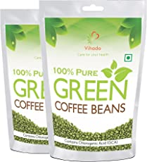 vihado Pure Organic Arabica Green Coffee Beans For Weight Management - 250 g (pack of 2)