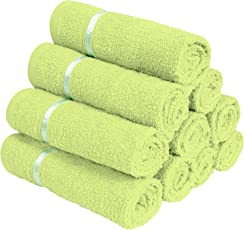 Story@Home 100% Cotton Soft Towel Set of 10 Pieces, 450 GSM - 10 Face Towels - Lime Green