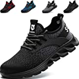 SUADEEX Safety Shoes Men Womens Steel Toe Cap Trainers Mens Womens Lightweight Breathable Safety Industrial Work Sneaker Anti