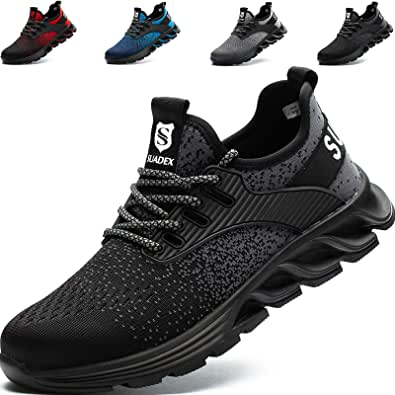 SUADEEX Safety Shoes Men Womens Steel Toe Cap Trainers Mens Womens Lightweight Breathable Safety Industrial Work Sneaker Anti-Smashing Anti-Puncture