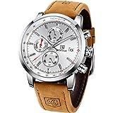 Montre Homme BENYAR Chronographe de Sport pour Hommes Bracelet en Cuir Cadran en Acier Inoxydable Date Analogique 30m Résista