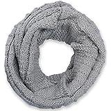 styleBREAKER sciarpa scaldacollo in maglia a quadri, sciarpa ad anello in maglia fine a tinta unita, sciarpa invernale in mag