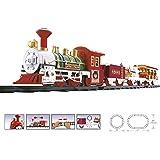 WEB2O Train électrique de Noël - Son et Lumière - Décoration de Noël Train avec Wagon animés et Rails Sapin père Noel