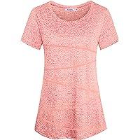 Sykooria T-Shirt de Sport Femme à Manches Courtes Tee Shirt Été Top de Yoga Casual Respirant Chemise à Séchage Rapide