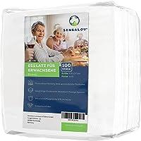 Sensalou Ess-Schürze Einweg für Erwachsene - Einmal Lätzchen mit Tasche für Krümel - 100 Stück
