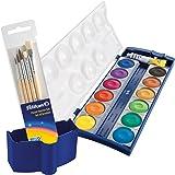 Pelikan 720250 K12 - Caja de pinturas (12 colores, 1 tubo de blanco opaco, estándar escolar, incluye pincel y caja de agua)