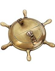 ShalinIndia Brass Antique Nautical Wheel Design Ashtray for Couple (Gold, 5-inch)