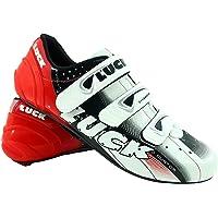 LUCK Scarpe da Ciclismo Evo, da Strada, con Suola in Carbonio, Molto rigide e Leggere e con Triplo Velcro.