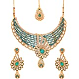 Touchstone Indian Bollywood Intricately Crafted Diamond Look Rhinestone Crystal Colorful Wedding Designer Jewelry Necklace Se