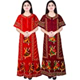Women's Cotton Printed Ankle Length Nighty(Pack of 2)(NT_30_Multicolored_Free Size)