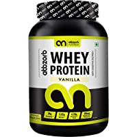 Abbzorb Nutrition Whey Protein 26g Protein | 5.8g BCAA -with Digestive Enzymes (Vanilla, 1 Kg)