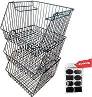 Luxunik Wire Baskets For Storage, Stackable Bins, Fruit Basket, 3 Tier Basket Stand, Pantry Wire Baskets, Vegetable Storage,