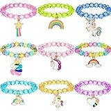 9 Pezzi Colorato Braccialetto di Unicorno da Ragazze Braccialetto Gioielli di Unicorno Bracciale con Perline Unicorno Arcobal