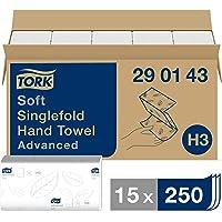 Tork Essuie-mains pliés en V Advanced - 290143 - Papier d'essuyage pour Distributeur H3 - Absorbant et indéchirable, 2…