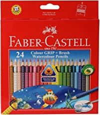 Faber-Castell Grip Watercolor Pencil with Brush - Pack of 24 (Assorted)
