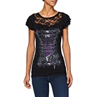 Spiral Direct Waisted Corset-Lace Layered cap Sleeve Top Black T-Shirt Donna
