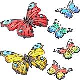 6 Pièces Décor d'Art Mural Papillon en Métal Décoration Murale à Suspendre Papillon Papillon Mural Inspirant Sculptures Color