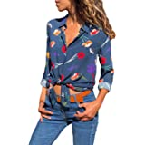 Silindashop Womens V Neck Long Sleeve Blouses Color Block Stripes Button Down Tops Casual Work Shirt