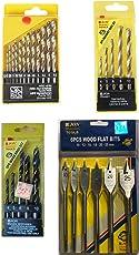 Jon Bhandari combo of 4 sets of drill bits for wood, masonry and soft metal