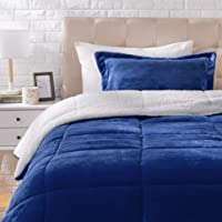 AmazonBasics Micromink Sherpa Comforter Set - Twin, Navy - with Pillow Cover