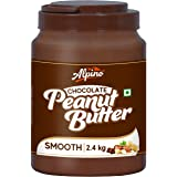 Alpino Chocolate Peanut Butter Smooth 2.4 KG | Made with Roasted Peanuts, Cocoa Powder & Choco Chips | 25% Protein | Non-GMO