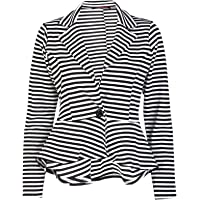xpaccessories Ladies Womens Crop Frill Shift Slim Fit Blazer Peplum Jacket Coat UK Plus Size 8-24