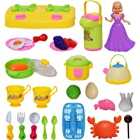 Wishkey Kitchen Cooking Pretend Play LearningToy for Little Chef's with Fruits,Veggies & Cookware Set of 28 Pcs