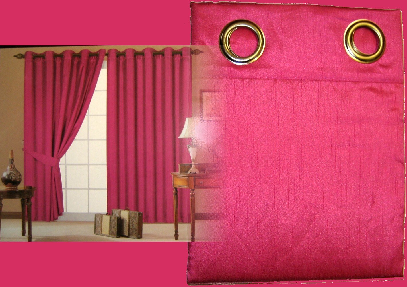 Hot pink curtains - Fuchsia Hot Pink Faux Silk Fully Lined Ready Made Pair Of Eyelet Curtains With Tie Backs 66 X 90 Amazon Co Uk Kitchen Home