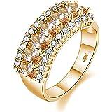 Uloveido Beautiful Women's 7 Stones Wedding Band Oval Cubic Zirconia Engagement Anniversary Rings J501
