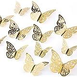 AIEX 24st 3D Vlinders Ornamenten Levendig Verwijderbare Stickers (Goud)