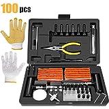TECCPO Kit di Riparazione Pneumatici, 100 Pezzi Set di Riparazione per Pneumatici, Accessorio con Manometro, Guanti…