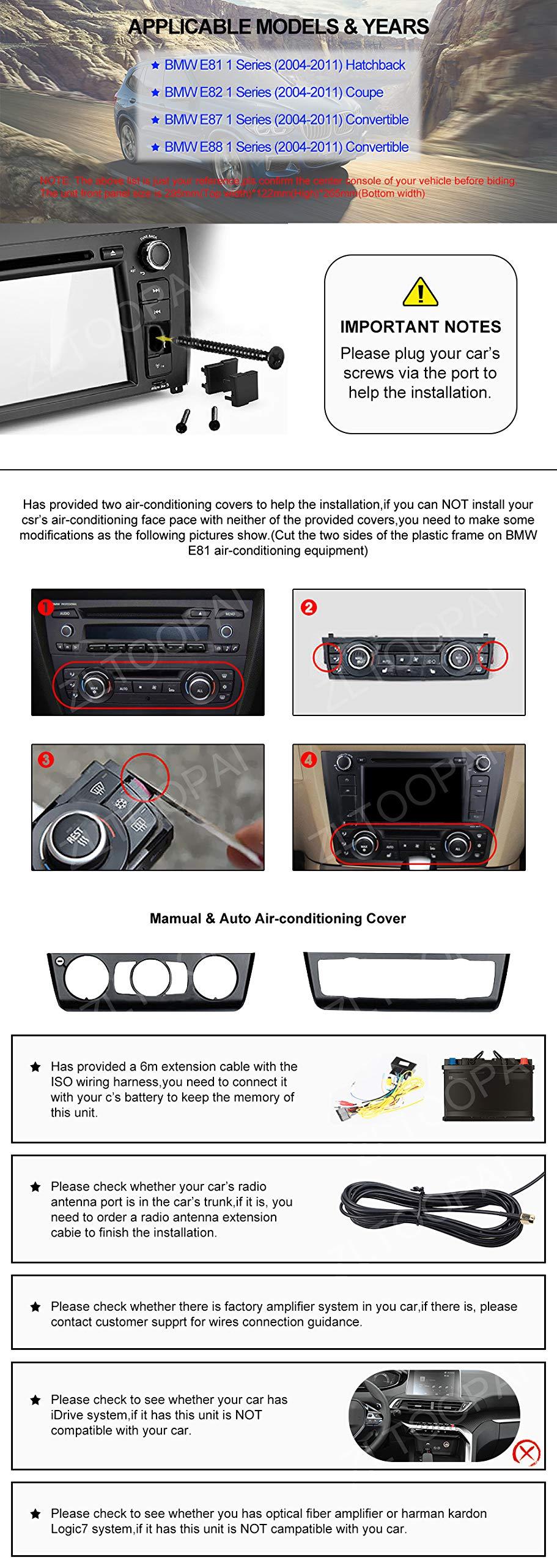 Android-Auto-Radio-Stereo-ZLTOOPAI-fr-BMW-E81-E82-E87-E88-1-Serie-Android-90-Octa-Core-4G-RAM-64G-ROM-7-Zoll-HD-Multi-Touchscreen-Auto-Stereo-GPS-Radio-DVD-Player-mit-Rckfahrkamera