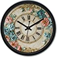 Amazon Brand - Solimo 12-inch Plastic & Glass Wall Clock - Victorian Bliss (Silent Movement), Black