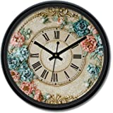 Amazon Brand - Solimo 12-inch Wall Clock - Victorian Bliss (Silent Movement)