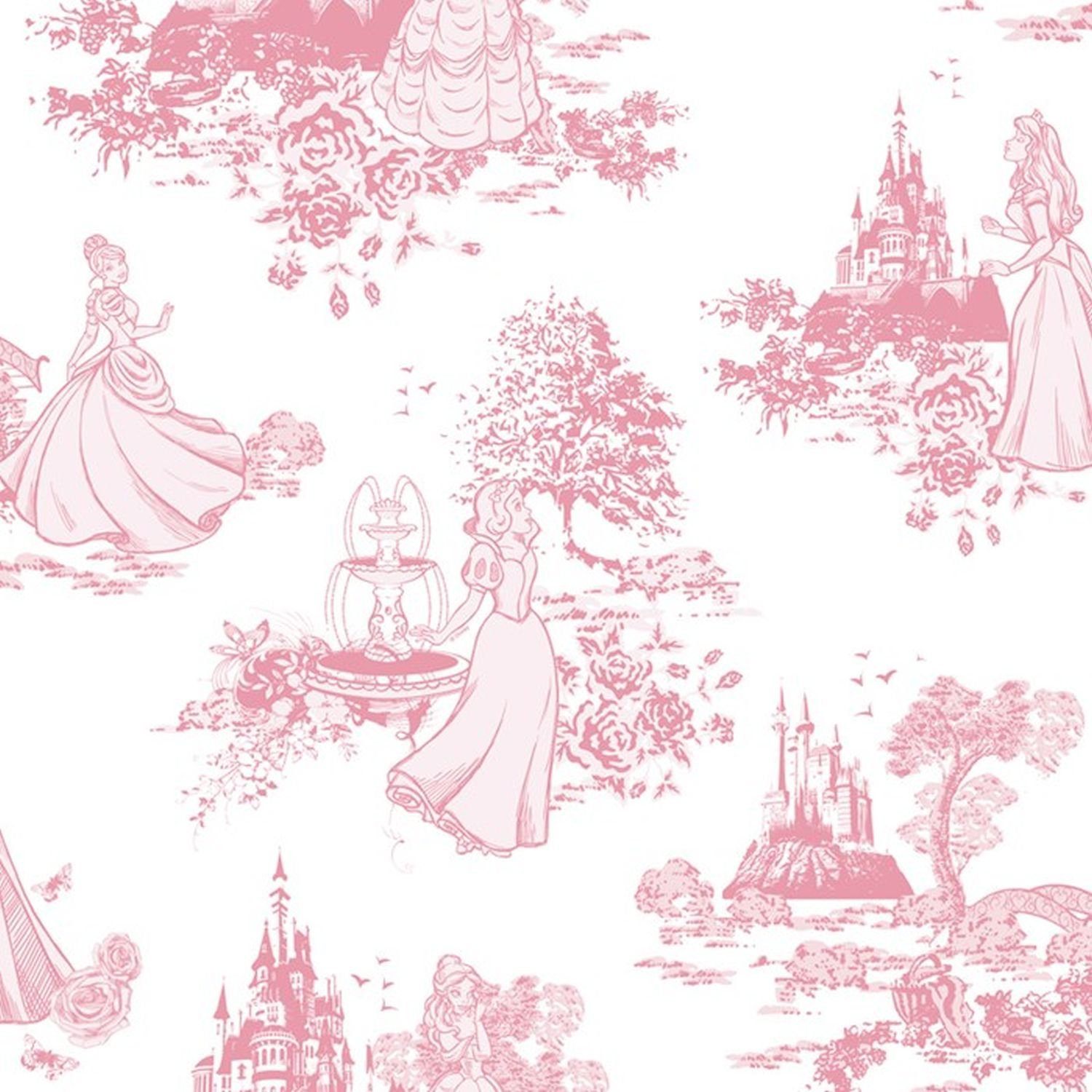 Disney Princess Toile Pink Wallpaper Amazoncouk DIY Tools