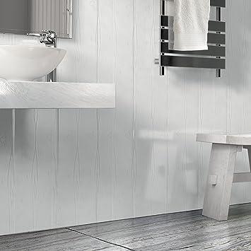 The Cladding Store Matt White Wood Effect Bathroom PVC Cladding Shower  Ceiling Kitchen Wet Wall Panels UPVC Shower Splash Panels (12 Pack):  Amazon.co.uk: ...
