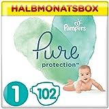 Pampers Pure Protection Windeln, Gr. 1, 2kg-5kg, Halbmonatsbox (1 x 102 Windeln)