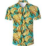 RAISEVERN Camisa Hawaiana Divertida de Verano para Hombre Camisas Casuales de Manga Corta Trajes Ropa de Vacaciones botón Rop