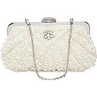 ORSERA Damen Clutch Abendtasche Handtasche Handmade Clutch Kleine Perlen Diamant Ring Schnalle Brauttasche…