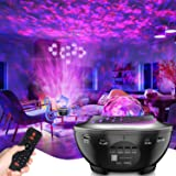 Lampe Projecteur LED Étoile, Lumière Projecteur Bluetooth Simulation des nuages 12 Modes Musicale Commande Minuterie avec Tél