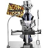 Brubaker portabottiglie Vino dal Design 'Chirurgo' con Biglietto d'auguri - Scultura in Metallo