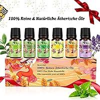 Aromatherapie Ätherische Öle Geschenkset für Diffuser - 100% Pure Aroma Duftöle - Teebaumsöl, Lavendelöl,Pfefferminzöl,...