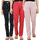 Peach Blossom Women's Cotton Printed Pajama (Pack of 3)