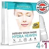 Tuchmaske Gesichtsmaske - Premium Hyaluron Gesicht Maske. Hochdosierte Hydrogel Serum Vliesmaske Sheet Maske. Anti-Aging Feuchtigkeitspflege von konivéo 4 + 1 Stück