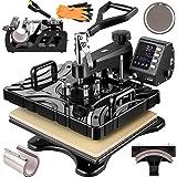 VEVOR drukmachine voor textiel, 800 W, transferpers 6 in 1 textielpers 38 x 30 cm multifunctionele hete pers, textieldrukpers
