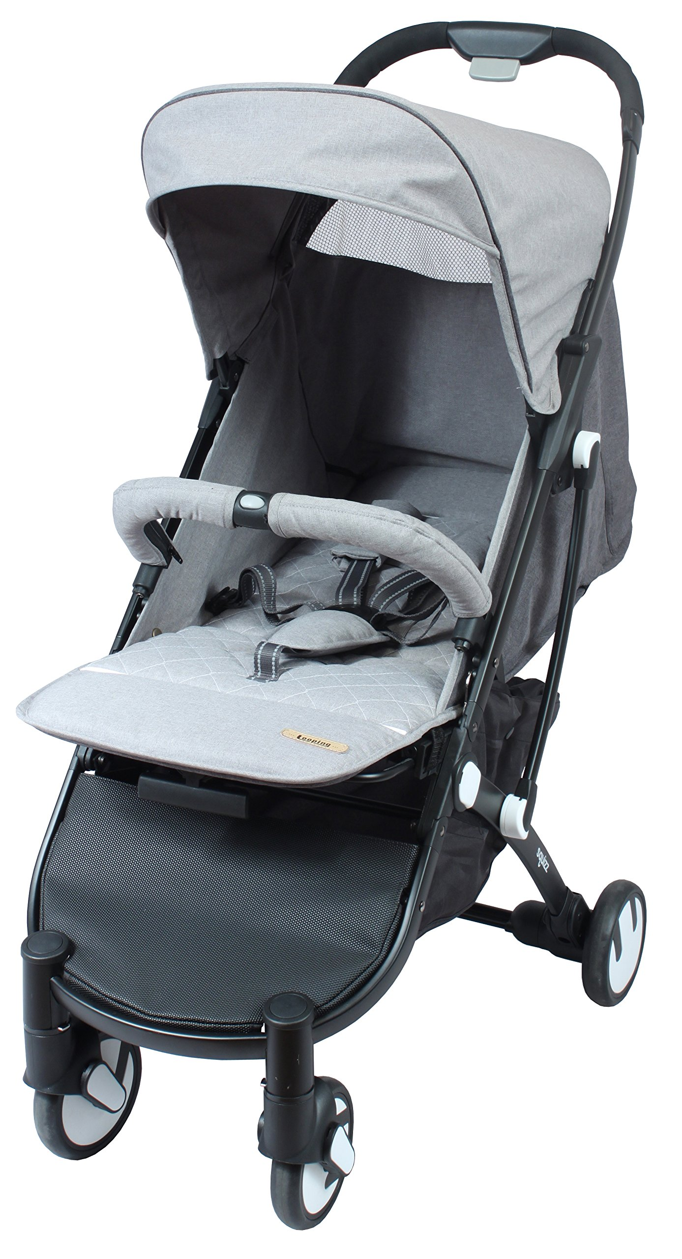 LOOPING Poussette compacte Squizz 2 Z15 - Gris chiné Looping Very compact babies's pushchair from birth up to 15kg. Smart pull-along handle that enables you to pull the pushchair. Folds up and unfolds with one hand. Large canopy to better protect your baby- Removable and opening bumper bar to keep your baby in place. 3
