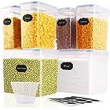 SOLEDI Boite de Rangement Cuisine Lot Grande de 6 Bocaux Hermetiques Alimentaires en Plastique Scellée avec Couvercle pour St