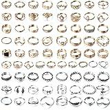 CASSIECA 74 STÜCKE Vintage Knuckle Ringe für Frauen Mädchen Gold/Silber Stapelbar Midi Ringe Sets Böhmischer Modeschmuck Gesc